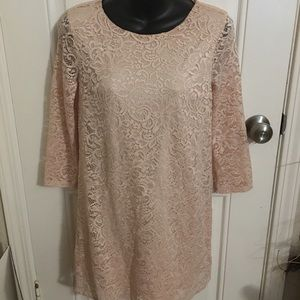 Forever 21 Women Short Pink Lace Dress Party Small